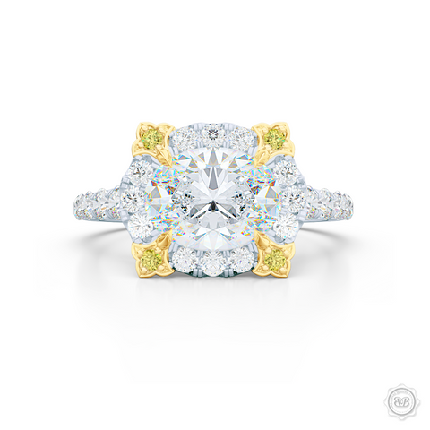 East-West Oval Diamond Halo Engagement Ring. Handcrafted in Precious Platinum or White Gold. GIA Certified Oval Diamond. Vintage-inspired lines with a unique flower prong accents, adorned with Canary Yellow Diamonds. Free Shipping USA. 30-Day Returns | BASHERT JEWELRY | Boca Raton, Florida