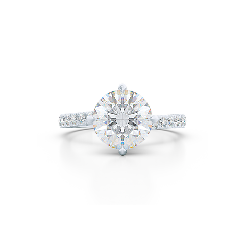 East-West, four prong, Round Solitaire. Recessed diamond halo. Diamond adorned shoulders. Hand-fabricated in White Gold or Precious Platinum. Available in Diamond or Lab-Grown Diamond. | Made in Boca Raton, Florida. 15 Day Returns. Free Shipping USA. | Bashert Jewelry