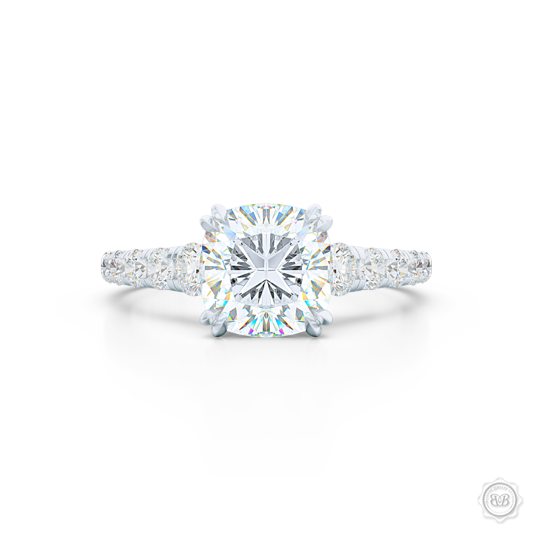Classic Four Prong Cushion Cut Diamond Solitaire Engagement Ring. Handcrafted in White Gold or Precious Platinum, GIA Certified Diamond and French Pavé set Diamond shoulders. Free Shipping for All USA Orders. 30-Day Returns | BASHERT JEWELRY | Boca Raton, Florida