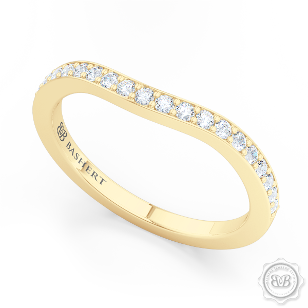 Elegantly Curved Diamond Wedding Band. Classic Bead-Set Diamonds. Handcrafted in Classic Yellow Gold. Free Shipping All USA Orders. 30Day Returns | BASHERT JEWELRY | Boca Raton, Florida