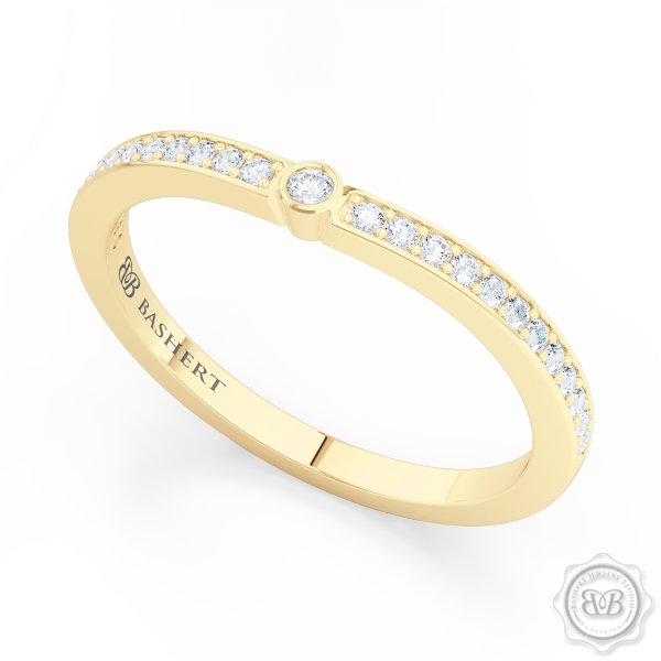 Curved Diamond Wedding Band. Clean, Sophisticated Lines. Classic Bead-Set Diamonds in Classic Yellow Gold. Free Shipping USA. 30 Day Returns | BASHERT JEWELRY | Boca Raton, Florida
