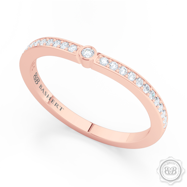 Whisper thin Diamond Wedding Band. Clean, Sophisticated Lines. Bead-Set Round Diamonds in Romantic Rose Gold. Free Shipping USA. 30 Day Returns | BASHERT JEWELRY | Boca Raton, Florida