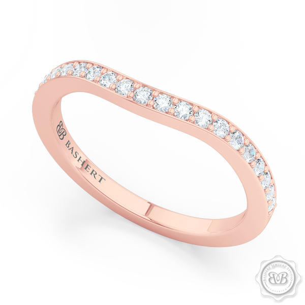 Elegantly Curved Diamond Wedding Band. Classic Bead-Set Diamonds. Handcrafted in Romantic Rose Gold. Free Shipping All USA Orders. 30Day Returns | BASHERT JEWELRY | Boca Raton, Florida