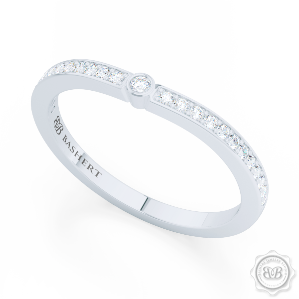 Whisper thin Diamond Wedding Band. Clean, Sophisticated Lines. Bead-Set Round Diamonds in Bright White Gold or Precious Platinum. Free Shipping USA. 30 Day Returns | BASHERT JEWELRY | Boca Raton, Florida