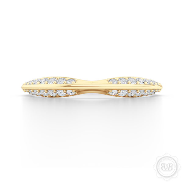 Pinched-in, Knife-Edge Diamond Wedding Band. Handcrafted in Classic Yellow Gold. Free Shipping on All USA Orders. 30 Day Returns.  | BASHERT JEWELRY | Boca Raton, Florida