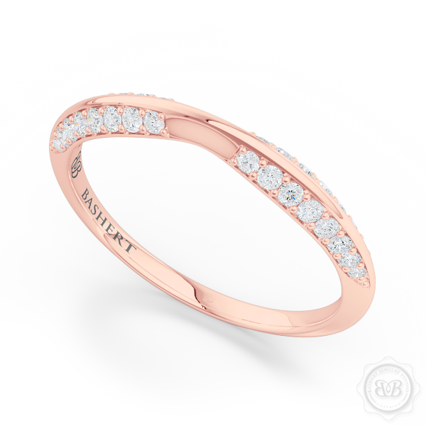 Pinched-in, Knife-Edge Diamond Wedding Band. Handcrafted in Romantic Rose Gold. Free Shipping on All USA Orders. 30 Day Returns.  | BASHERT JEWELRY | Boca Raton, Florida