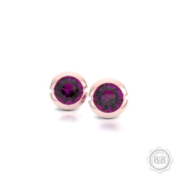 Rhodolite Garnet Martini Stud Earrings Handcrafted in Romantic Rose Gold. Find The Perfect Pair for Your Budget. Make it Personal - Choose Your Gemstones! Free Shipping on All USA Orders. 30-Day Returns | BASHERT JEWELRY | Boca Raton, Florida