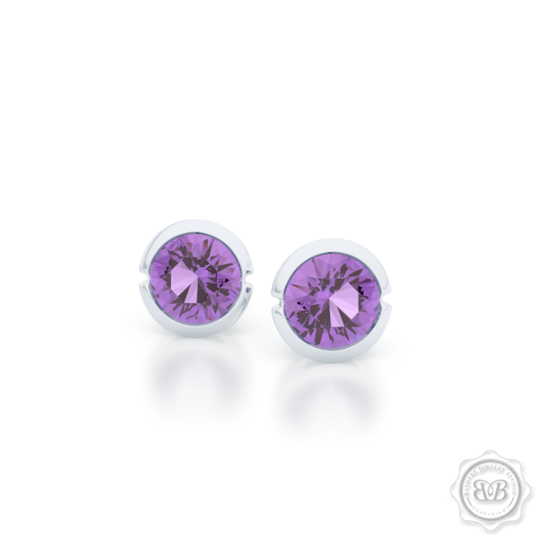 Classic Martini Amethyst Stud Earrings with a modern twist. Handcrafted in Sterling Silver and Lilac Amethysts. Find The Perfect Pair for Your Budget. Make it Personal - Choose Your Gemstones! Free Shipping on All USA Orders. 30-Day Returns | BASHERT JEWELRY | Boca Raton, Florida.