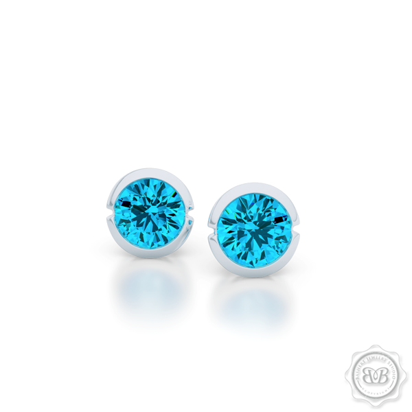 Classic Martini Topaz Stud Earrings with a modern twist. Handcrafted in Sterling Silver and Sky Blue Topaz. Find The Perfect Pair for Your Budget. Make it Personal - Choose Your Gemstones! Free Shipping on All USA Orders. 30-Day Returns | BASHERT JEWELRY | Boca Raton, Florida.