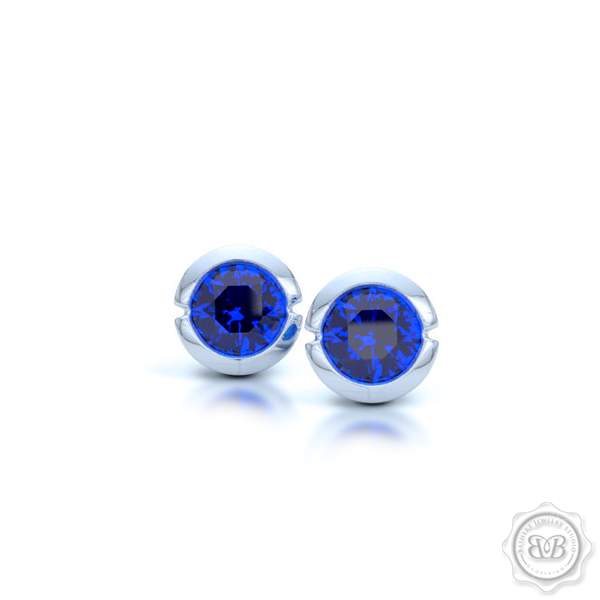 Classic Sapphire Martini Stud Earrings with a modern twist. Handcrafted in White Gold or Platinum and Royal Blue Sapphires. Find The Perfect Pair for Your Budget. Make it Personal - Choose Your Gemstones! Free Shipping on All USA Orders. 30-Day Returns | BASHERT JEWELRY | Boca Raton, Florida.
