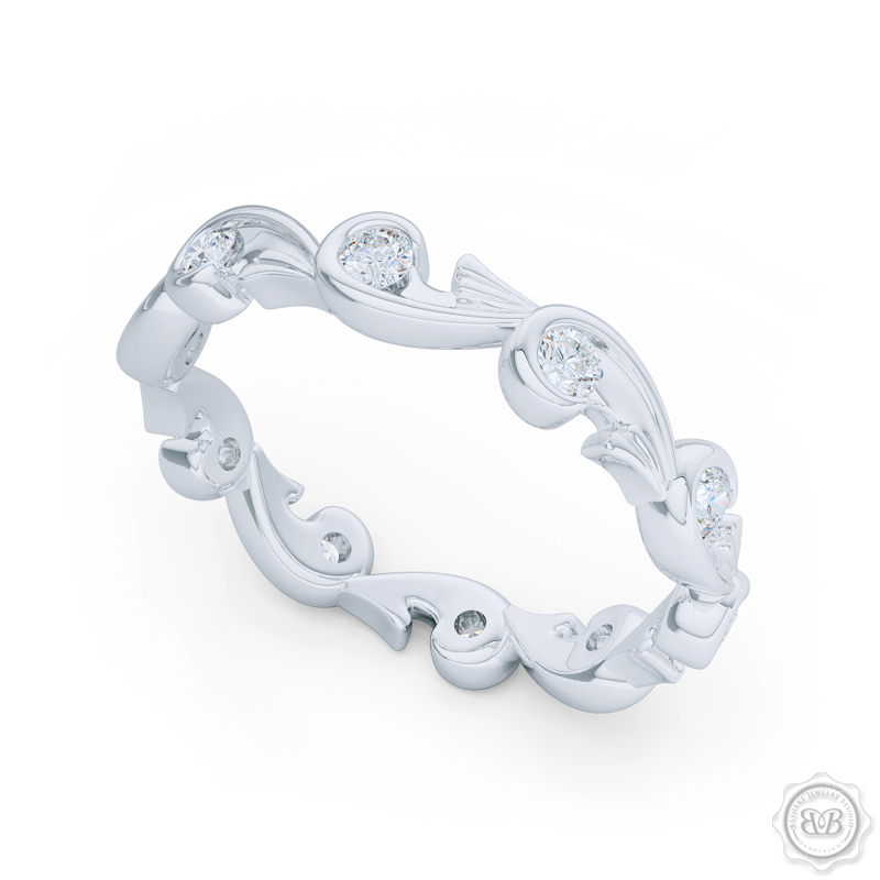 Rose-Vine Motif Eternity Diamond Wedding Band. Handcrafted in White Gold or Platinum, and adorned with Round Brilliant  Diamonds. Free Shipping for All USA Orders. 30Day Returns | BASHERT JEWELRY | Boca Raton, Florida