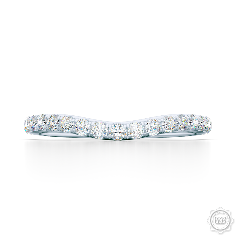 Classic, fishtail set Diamond Wedding Band. Handcrafted in White Gold or Precious Platinum and round brilliant diamonds. Free Shipping for All USA Orders. 30-Day Returns | BASHERT JEWELRY | Boca Raton, Florida