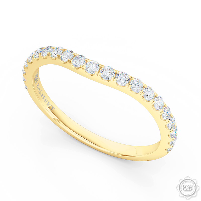 Classic, fishtail set Diamond Wedding Band. Handcrafted in Classic Yellow Gold and round brilliant diamonds. Free Shipping for All USA Orders. 30-Day Returns | BASHERT JEWELRY | Boca Raton, Florida
