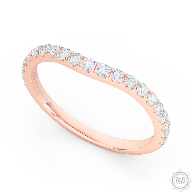 Classic, fishtail set Diamond Wedding Band. Handcrafted in Romantic Rose Gold and round brilliant diamonds. Free Shipping for All USA Orders. 30-Day Returns | BASHERT JEWELRY | Boca Raton, Florida