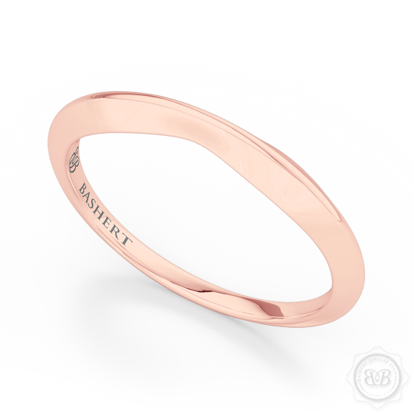 Pinched-in, Knife-Edge Plain Wedding Band. Handcrafted in Romantic Rose Gold. Free Shipping All USA Orders. 30 Day Returns. | BASHERT JEWELRY | Boca Raton, Florida