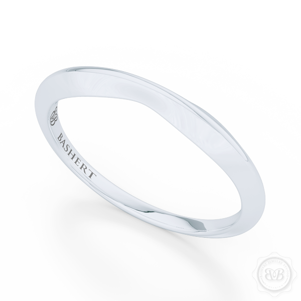 Pinched-in, Knife-Edge Plain Wedding Band. Handcrafted in Precious Platinum or White Gold. Free Shipping All USA Orders. 30 Day Returns.  | BASHERT JEWELRY | Boca Raton, Florida