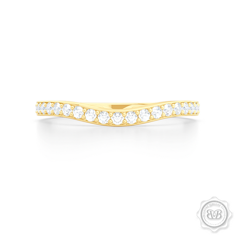 Elegantly Curved Diamond Wedding Band. Classic Bead-Set Diamonds. Handcrafted in Classic Yellow Gold. Halo Engagement Ring Set. Free Shipping for All USA Orders. 30 Day Returns | BASHERT JEWELRY | Boca Raton, Florida
