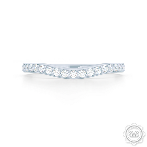 Elegantly Curved Diamond Wedding Band. Classic Bead-Set Diamonds. Handcrafted in Precious Platinum or White Gold. Free Shipping All USA Orders. 30 Day Returns | BASHERT JEWELRY | Boca Raton, Florida