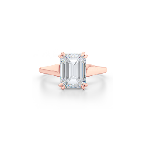 Classic, Emerald Cut Diamond Solitaire Ring. Hand-fabricated in sustainable, solid Rose Gold and GIA certified Emerald Cut Diamond.  Free Shipping to all US orders. 15 Day Returns | BASHERT JEWELRY | Boca Raton, Florida