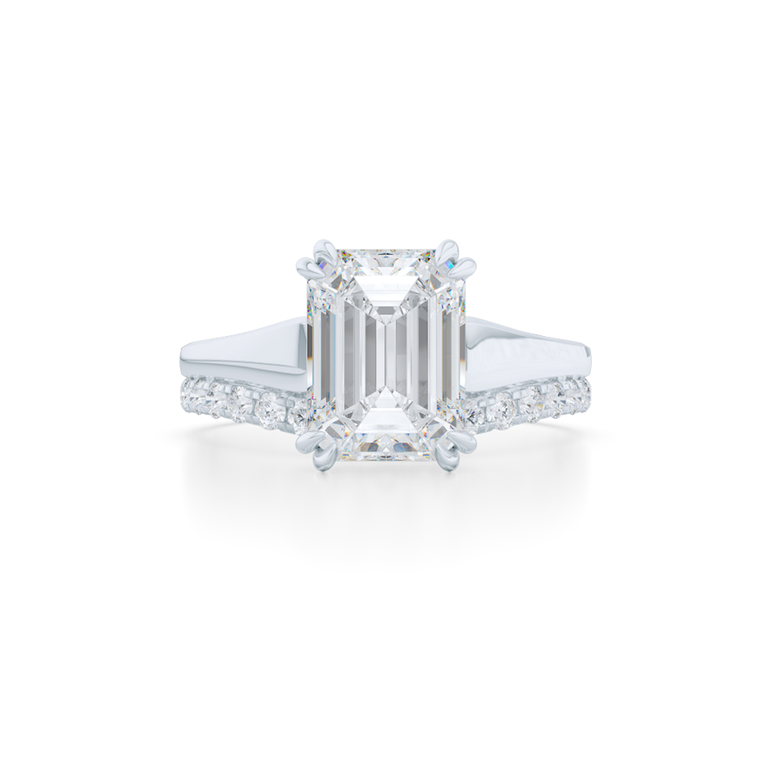 Classic, Emerald Cut Diamond Solitaire Ring. Hand-fabricated in sustainable, solid White Gold and GIA certified Emerald Cut Diamond.  Free Shipping to all US orders. 15 Day Returns | BASHERT JEWELRY | Boca Raton, Florida