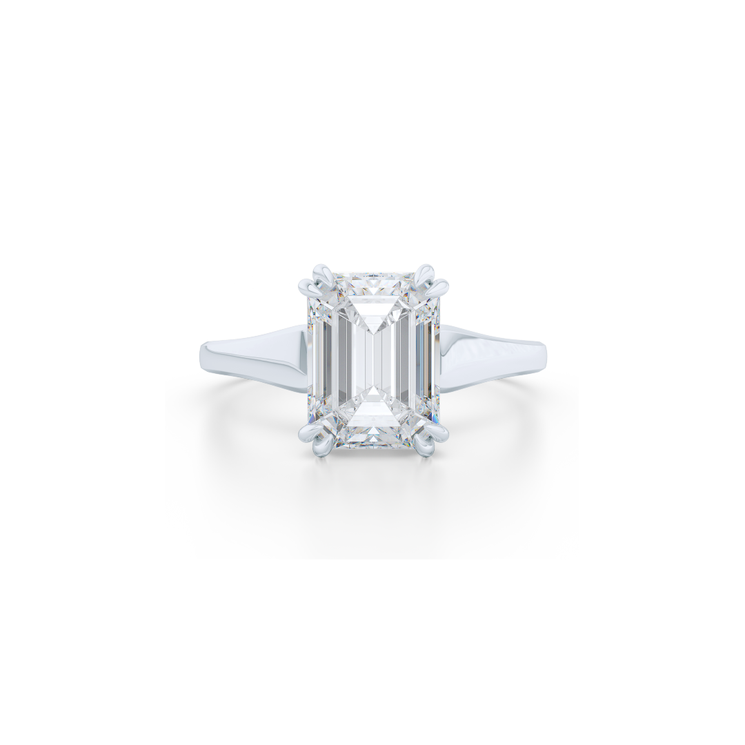 Classic, Emerald Cut Diamond Solitaire Ring. Hand-fabricated in Precious Platinum and GIA certified Emerald Cut Diamond.  Free Shipping to all US orders. 15 Day Returns | BASHERT JEWELRY | Boca Raton, Florida