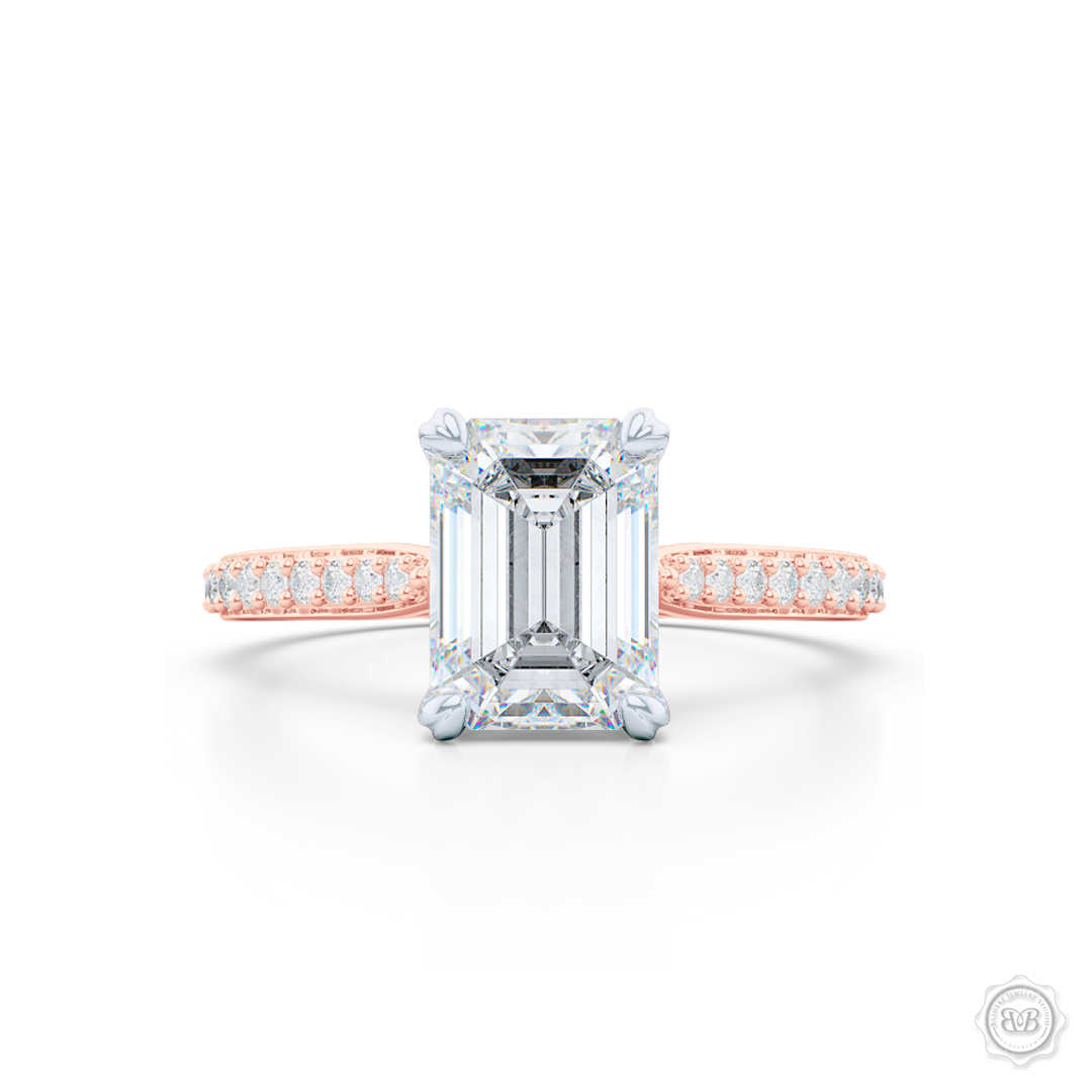 Classic Emerald Cut Diamond Solitaire Ring. Handcrafted in two-tone Rose Gold and Platinum crown. GIA Certified Emerald cut Diamond. Elegant, Bead-Set Diamond Shoulders. Free Shipping USA. 30-Day Returns | BASHERT JEWELRY | Boca Raton, Florida