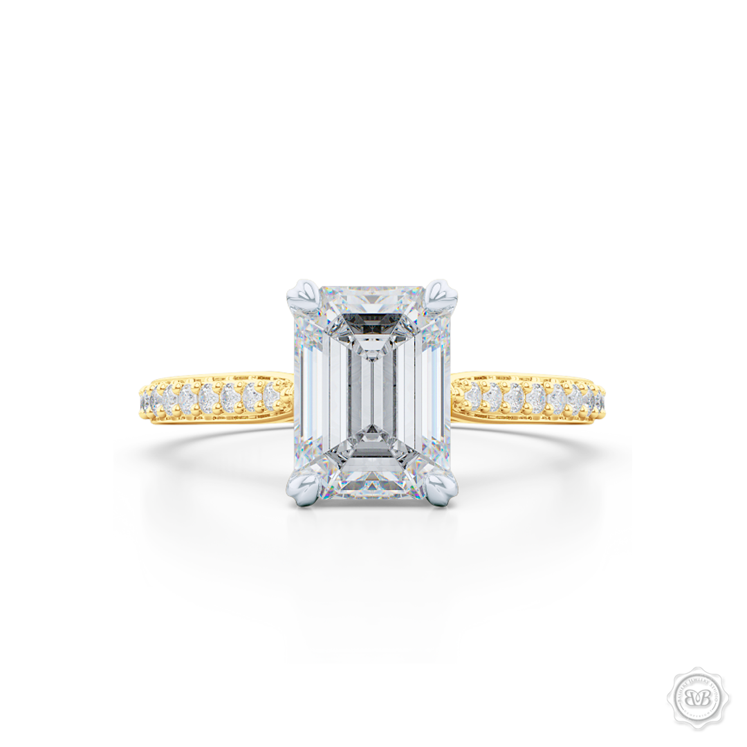 Classic Four-Prong Emerald Cut Diamond Solitaire Ring. Handcrafted in Classic Yellow Gold and Platinum crown. GIA Certified Diamond. Elegantly Tapered Bead-Set Diamond Shoulders. Find a GIA Certified Diamond Tailored to Your Budget. This Design has a matching bead-set Diamond Wedding Band. Free Shipping USA. 30-Day Returns | BASHERT JEWELRY | Boca Raton, Florida
