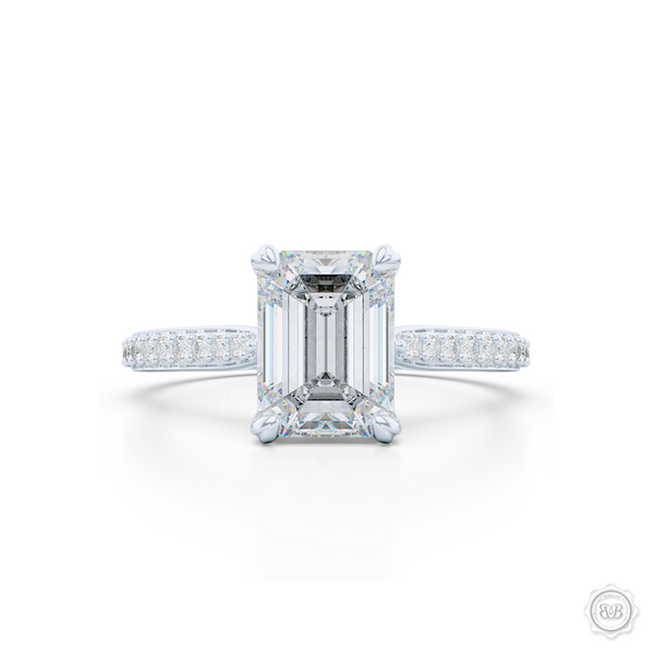 Classic Emerald Cut Diamond Solitaire Ring. Handcrafted in White Gold or Platinum. GIA Certified Emerald Step-Cut Diamond. Elegant, Bead-Set Diamond Shoulders. Free Shipping USA. 30-Day Returns | BASHERT JEWELRY | Boca Raton, Florida