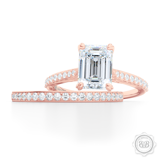 Classic Emerald Cut Solitaire Ring. Handcrafted in two-tone Rose Gold and Platinum. Charles & Colvard Forever One Emerald-cut Moissanite. Elegant, Bead-Set Diamond Shoulders. Free Shipping USA. 30-Day Returns | BASHERT JEWELRY | Boca Raton, Florida