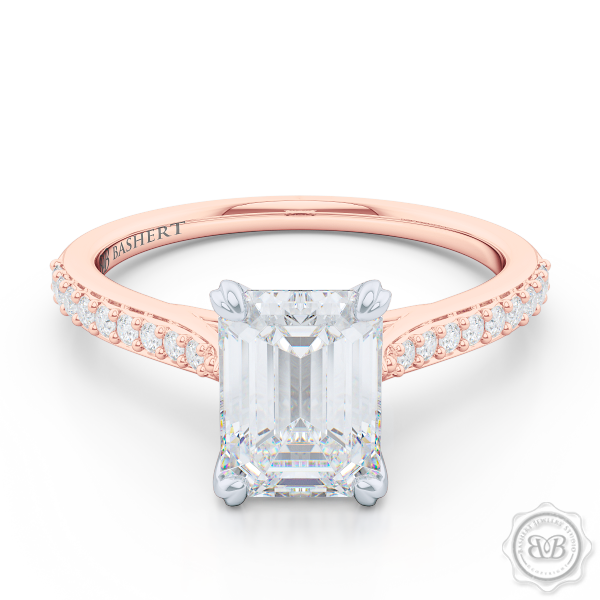 Classic Four-Prong GIA Certified Emerald Cut Diamond Solitaire Ring Handcrafted in Romantic Rose Gold and Platinum. Elegantly Tapered Bead-Set Diamond Shoulders. Find a GIA Certified Diamond Tailored to Your Budget. This Design Offers a Matching Bead-Set Diamond Wedding Band For Her. Free Shipping USA. 30Day Returns | BASHERT JEWELRY | Boca Raton Florida