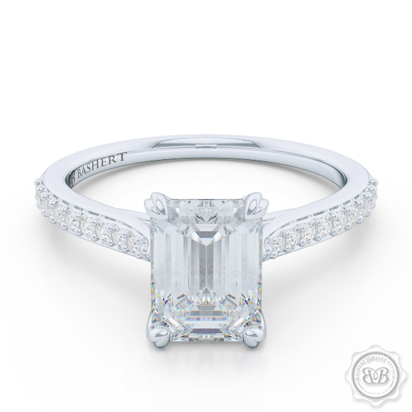 Classic Emerald Cut Solitaire Ring. Handcrafted in White Gold or Platinum. Charles & Colvard Forever One Emerald-cut Moissanite. Elegant, Bead-Set Diamond Shoulders. Free Shipping USA. 30-Day Returns | BASHERT JEWELRY | Boca Raton, Florida