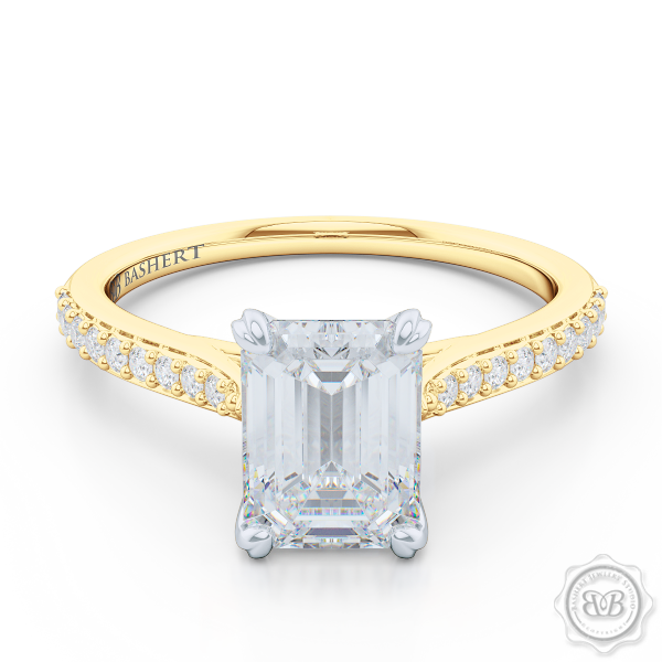 Classic Four-Prong Emerald Cut Diamond Solitaire Ring. Handcrafted in Classic Yellow Gold and Platinum. GIA Certified Diamond. Elegantly Tapered Bead-Set Diamond Shoulders. Find a GIA Certified Diamond Tailored to Your Budget. This Design has a matching bead-set Diamond Wedding Band. Free Shipping USA. 30-Day Returns | BASHERT JEWELRY | Boca Raton, Florida