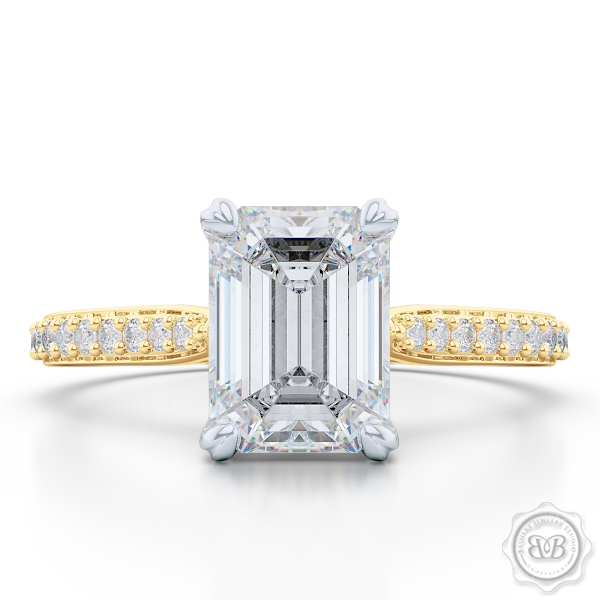 Classic Emerald Cut Solitaire Ring. Handcrafted in two-tone Yellow Gold and Platinum. Charles & Colvard Forever One Emerald-cut Moissanite. Elegant, Bead-Set Diamond Shoulders. Free Shipping USA. 30-Day Returns | BASHERT JEWELRY | Boca Raton, Florida