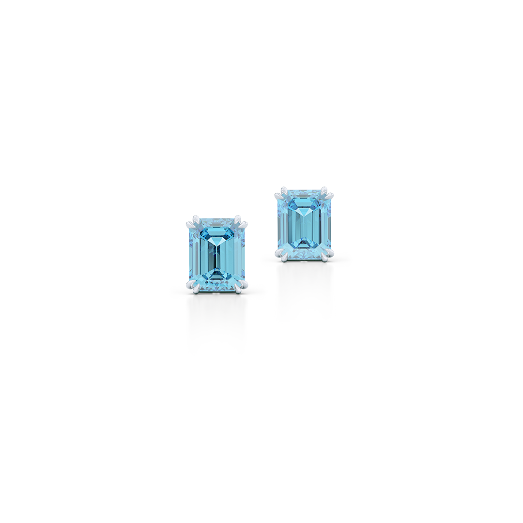 Emerald Cut Gemstone Earring Studs. Sterling Silver. Sky Blue Topaz. Free Shipping on All USA Orders. 15-Day Returns | BASHERT JEWELRY | Boca Raton, Florida