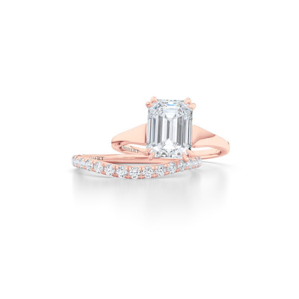 Classic, Emerald Cut Moissanite Solitaire Ring. Hand-fabricated in sustainable, solid Rose Gold and Forever One Charles & Colvard Moissanite.  Free Shipping to all US orders. 15 Day Returns | BASHERT JEWELRY | Boca Raton, Florida