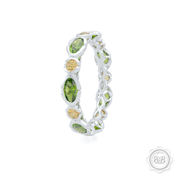 Unique Eternity Ring. Handcrafted in White Gold.  Adorned with array of Round Madeira Citrines and Oval Peridots. Geometrical Wedding, Eternity, Stackable Band that can be customized with gemstones of your choice. Free Shipping on All USA Orders. 30-Day Returns | BASHERT JEWELRY | Boca Raton, Florida