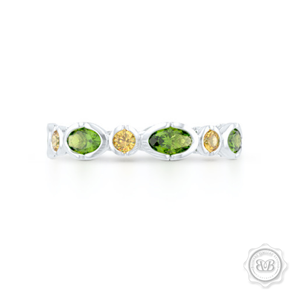 Unique Citrine and Peridot Eternity Ring. Handcrafted in White Gold.  Adorned with array of Round Madeira Citrines and Oval Peridots. Geometrical Wedding, Eternity, Stackable Band that can be customized with gemstones of your choice. Free Shipping on All USA Orders. 30-Day Returns | BASHERT JEWELRY | Boca Raton, Florida