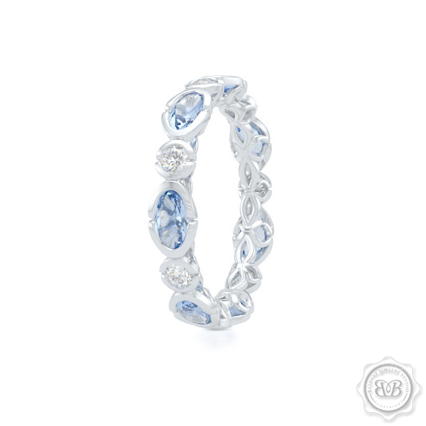 Unique Eternity Ring. Handcrafted in White Gold or Precious Platinum. Adorned with array of Round Diamond and Oval Ocean Blue Aquamarines. Geometrical Wedding, Eternity, Stackable Band that can be customized with gemstones of your choice. Free Shipping on All USA Orders. 30-Day Returns | BASHERT JEWELRY | Boca Raton, Florida