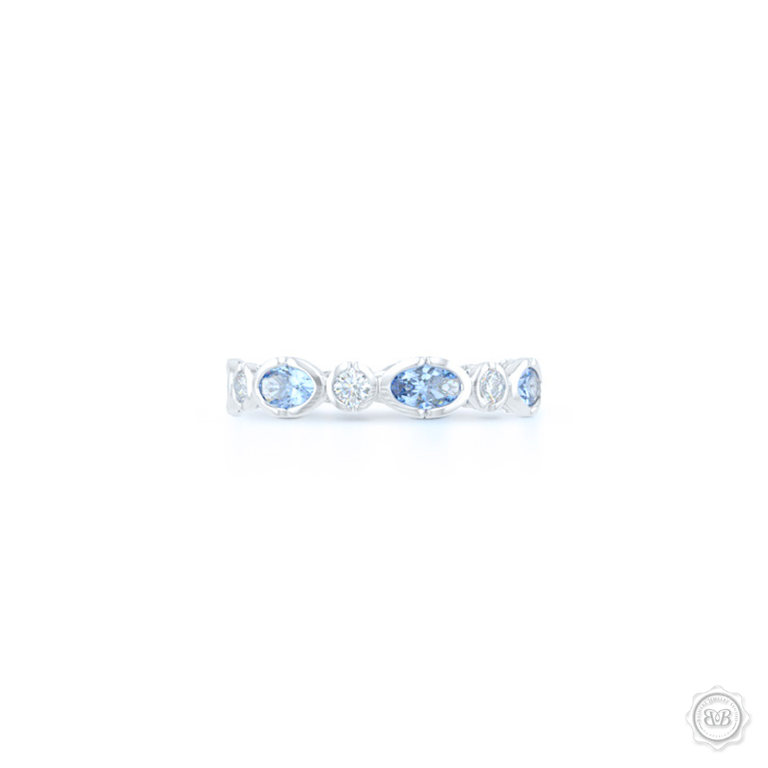 Unique Aquamarine and Diamond Eternity Ring. Handcrafted in White Gold or Precious Platinum. Adorned with array of Round Diamond and Oval Ocean Blue Aquamarines. Geometrical Wedding, Eternity, Stackable Band that can be customized with gemstones of your choice. Free Shipping on All USA Orders. 30-Day Returns | BASHERT JEWELRY | Boca Raton, Florida