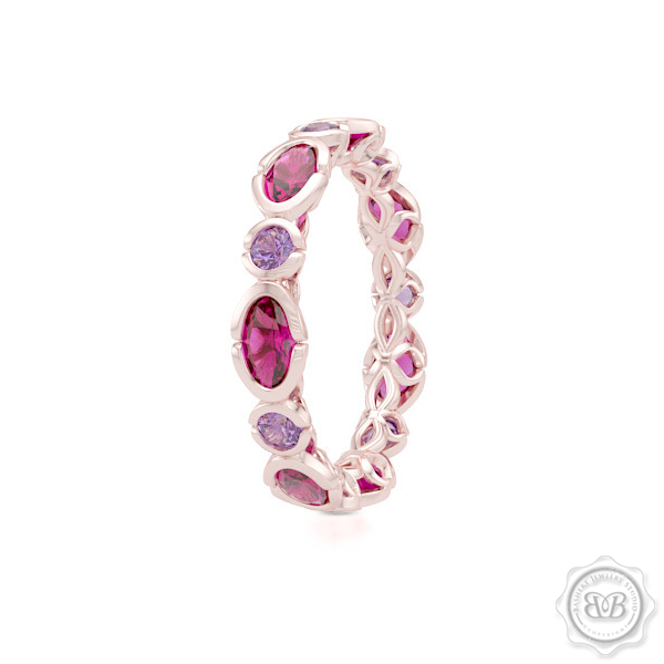 Unique Eternity Ring. Handcrafted in White Gold or Precious Platinum. Adorned with array of Round Lilac Amethysts and Oval Raspberry Rhodolite Garnets. Geometrical Wedding, Eternity, Stackable Band that can be customized with gemstones of your choice. Free Shipping on All USA Orders. 30-Day Returns | BASHERT JEWELRY | Boca Raton, Florida