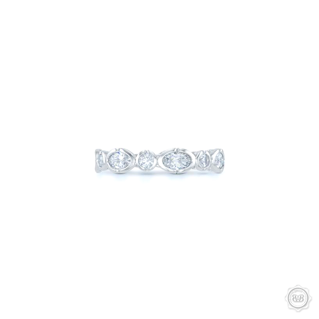Unique Diamond Eternity Ring. Handcrafted in White Gold or Precious Platinum. Adorned with array of Round and Oval Brilliant Cut Diamonds. Geometrical Wedding, Eternity, Stackable Band that can be customized with gemstones of your choice. Free Shipping on All USA Orders. 30-Day Returns | BASHERT JEWELRY | Boca Raton, Florida