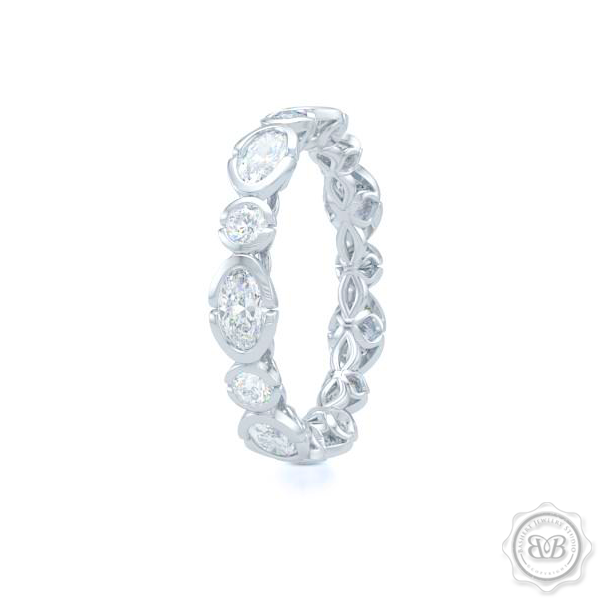 Unique Eternity Ring. Handcrafted in White Gold or Precious Platinum. Adorned with array of Round and Oval Brilliant Cut Diamonds. Geometrical Wedding, Eternity, Stackable Band that can be customized with gemstones of your choice. Free Shipping on All USA Orders. 30-Day Returns | BASHERT JEWELRY | Boca Raton, Florida
