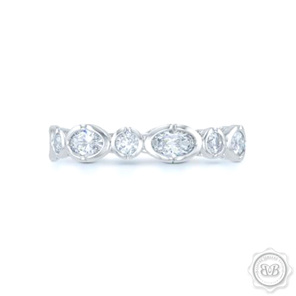 Unique Moissainte Geometric Eternity Ring. Handcrafted in White Gold or Precious Platinum. Adorned with array of Round and Oval Charles & Colvart Moissanites. Geometrical Wedding, Eternity, Stackable Band that can be customized with gemstones of your choice. Free Shipping on All USA Orders. 30-Day Returns | BASHERT JEWELRY | Boca Raton, Florida