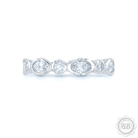 Unique Eternity Ring. Handcrafted in White Gold or Precious Platinum. Adorned with array of Round and Oval Charles & Colvart Moissanites. Geometrical Wedding, Eternity, Stackable Band that can be customized with gemstones of your choice. Free Shipping on All USA Orders. 30-Day Returns | BASHERT JEWELRY | Boca Raton, Florida