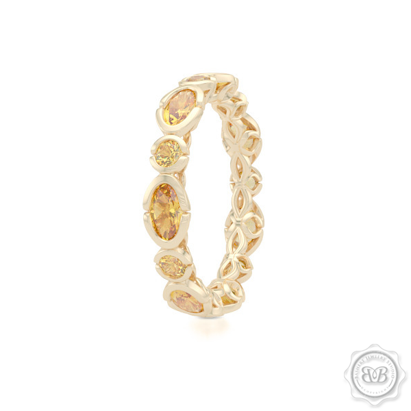 Unique Eternity Ring. Handcrafted in Classic Yellow Gold.  Adorned with array of Round and Oval Madeira Citrines. Geometrical Wedding, Eternity, Stackable Band that can be customized with gemstones of your choice. Free Shipping on All USA Orders. 30-Day Returns | BASHERT JEWELRY | Boca Raton, Florida