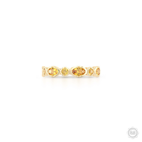 Unique Citrine Eternity Ring. Handcrafted in Classic Yellow Gold.  Adorned with array of Round and Oval Madeira Citrines. Geometrical Wedding, Eternity, Stackable Band that can be customized with gemstones of your choice. Free Shipping on All USA Orders. 30-Day Returns | BASHERT JEWELRY | Boca Raton, Florida