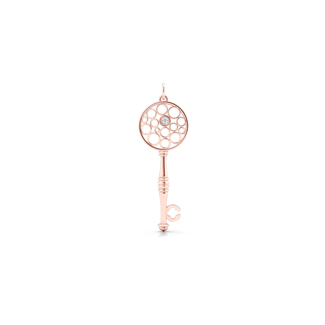 Floating Diamond Key Pendant necklace, hand-fabricated in sustainable, solid Rose Gold.  Free Shipping USA.  15 Day Returns.  | BASHERT JEWELRY | Boca Raton, Florida