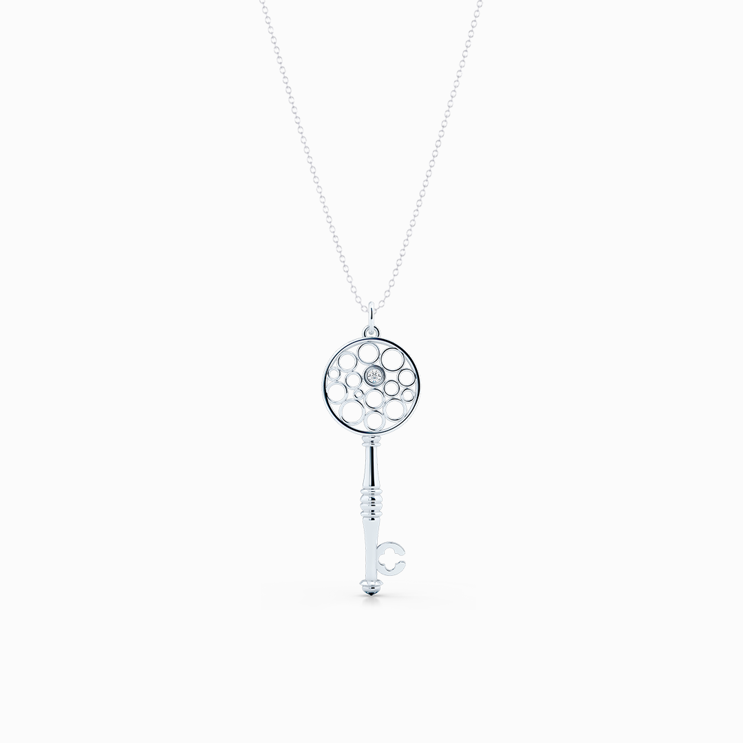 Floating Diamond Key Pendant necklace, hand-fabricated in sustainable, solid White Gold.  Free Shipping USA.  15 Day Returns.  | BASHERT JEWELRY | Boca Raton, Florida