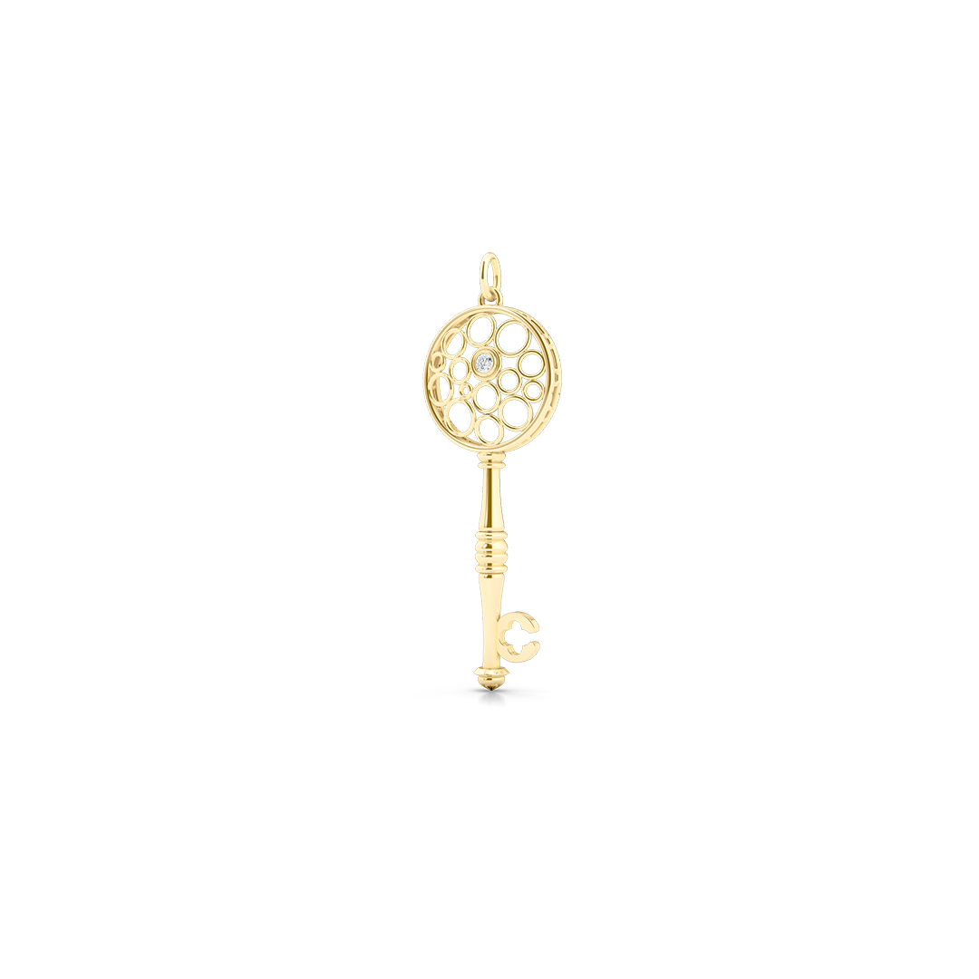 Floating Diamond Key Pendant necklace, hand-fabricated in sustainable, solid Yellow Gold.  Free Shipping USA.  15 Day Returns.  | BASHERT JEWELRY | Boca Raton, Florida