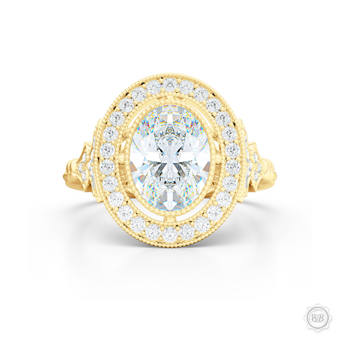 Floating Oval Diamond Halo Engagement Ring. Vintage inspired lines, handcrafted in Classic Yellow Gold. GIA certified Oval Diamond. Halo and shoulders finished in classic french milgrain, bringing a refine art-deco silhouette to this design.  Free Shipping on All USA Orders. 30-Day Returns | BASHERT JEWELRY | Boca Raton, Florida